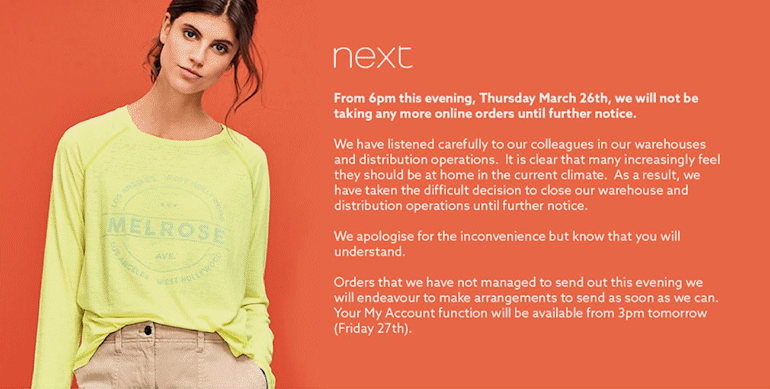 Next closes its online operations
